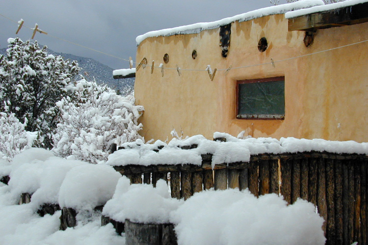 Heavy snow in Taos, New Mexico, in 2004.