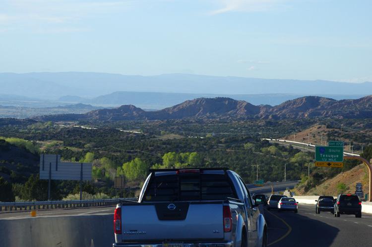 shot through the windshield north of Santa Fe