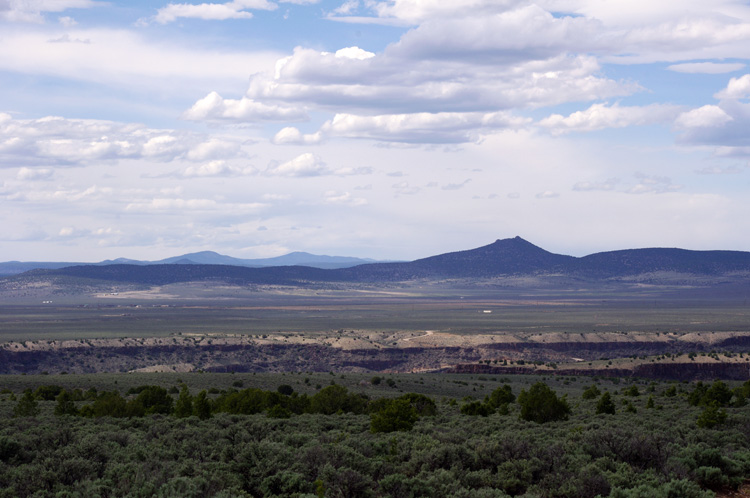 Taos Valley Overlook with gorge and volcanoes, again
