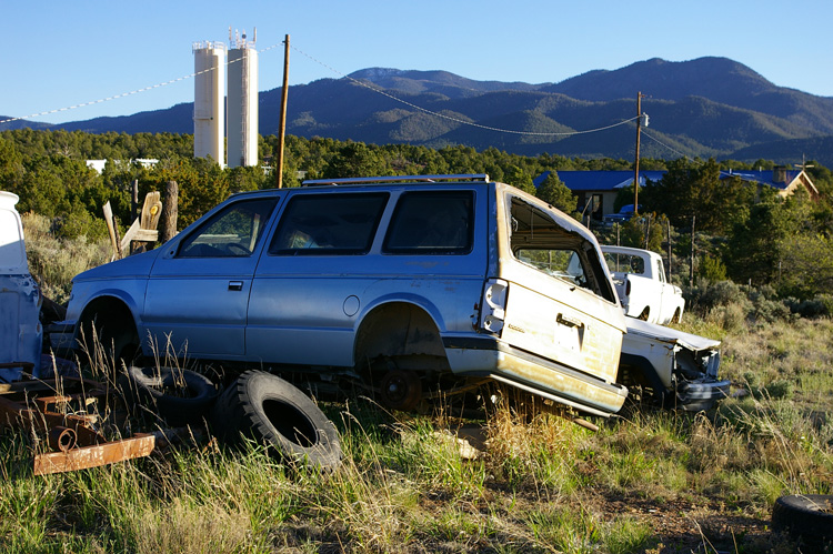 Picuris Peak with dead cars outside Taos, NM