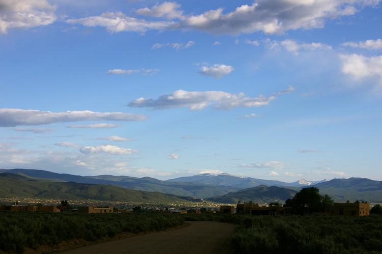 A view of Taos and Jicarita Peak from Eototo Road.